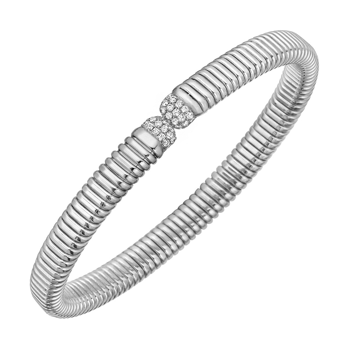 18k White Gold & Diamond Ribbed Cuff