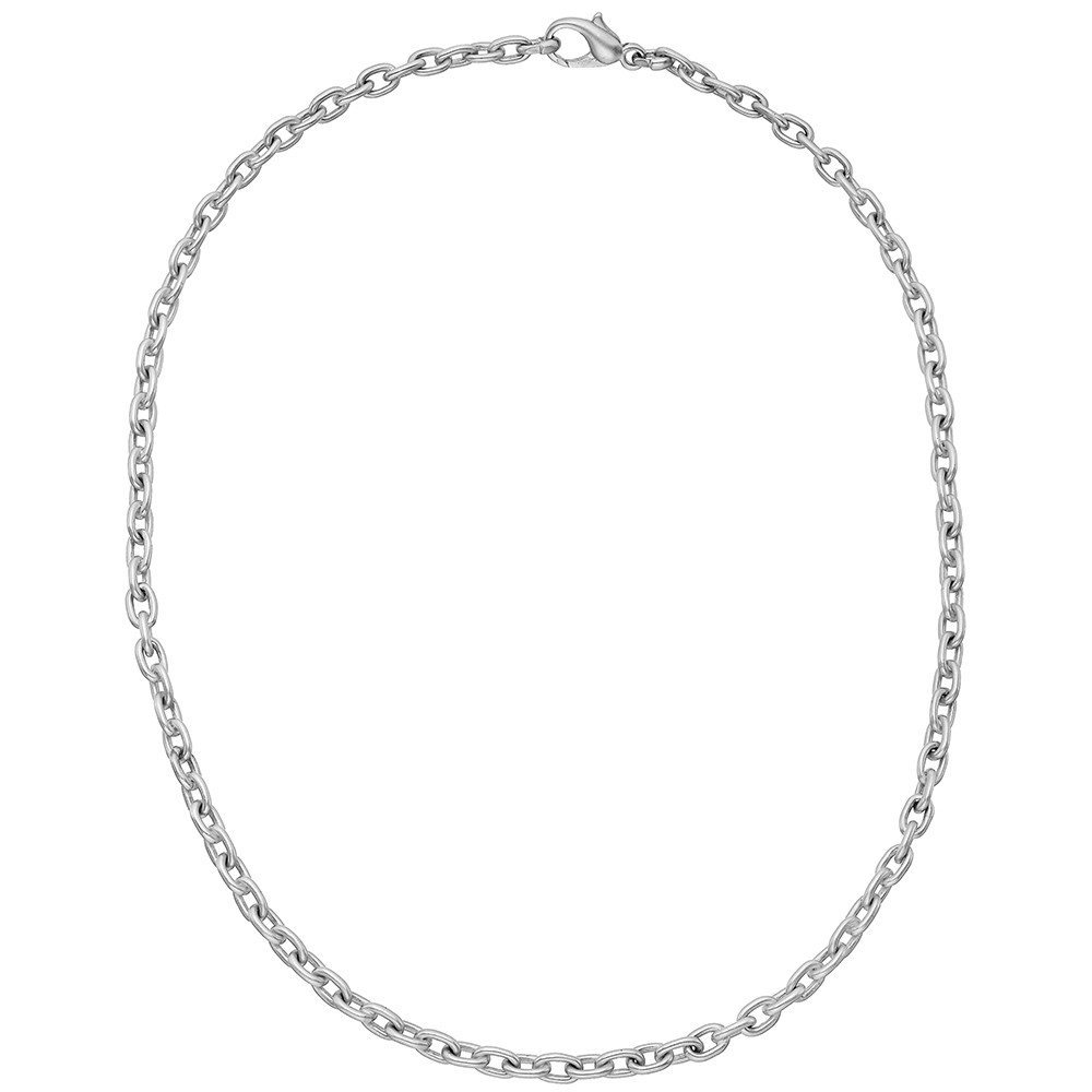 18k White Gold Oval Link Chain Necklace