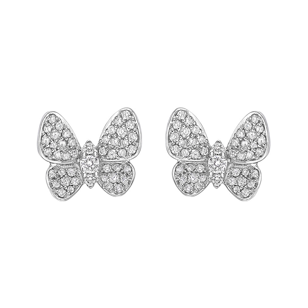 18k White Gold & Diamond Butterfly Earstuds