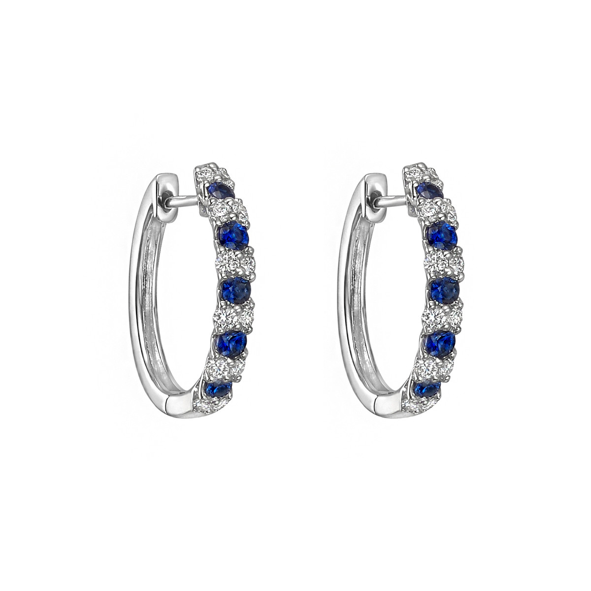 Small Sapphire & Diamond Hoop Earrings
