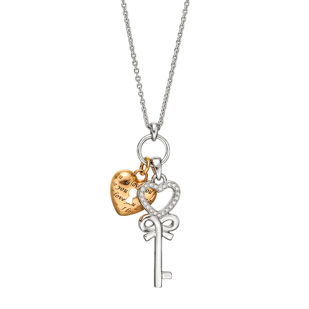 18k White & Rose Gold Key & Heart Lock Pendant