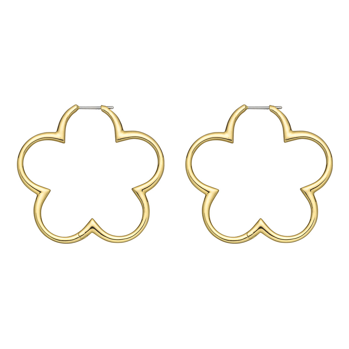 18k Yellow Gold Clover Hoop Earrings