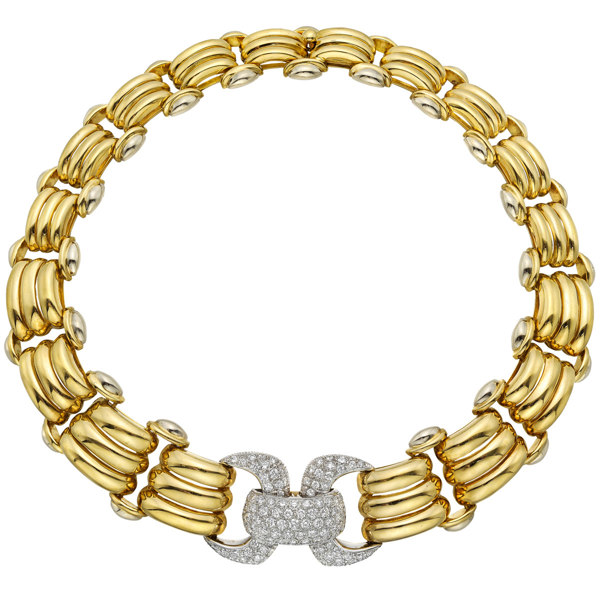 18k Yellow Gold Diamond Buckle Collar Necklace