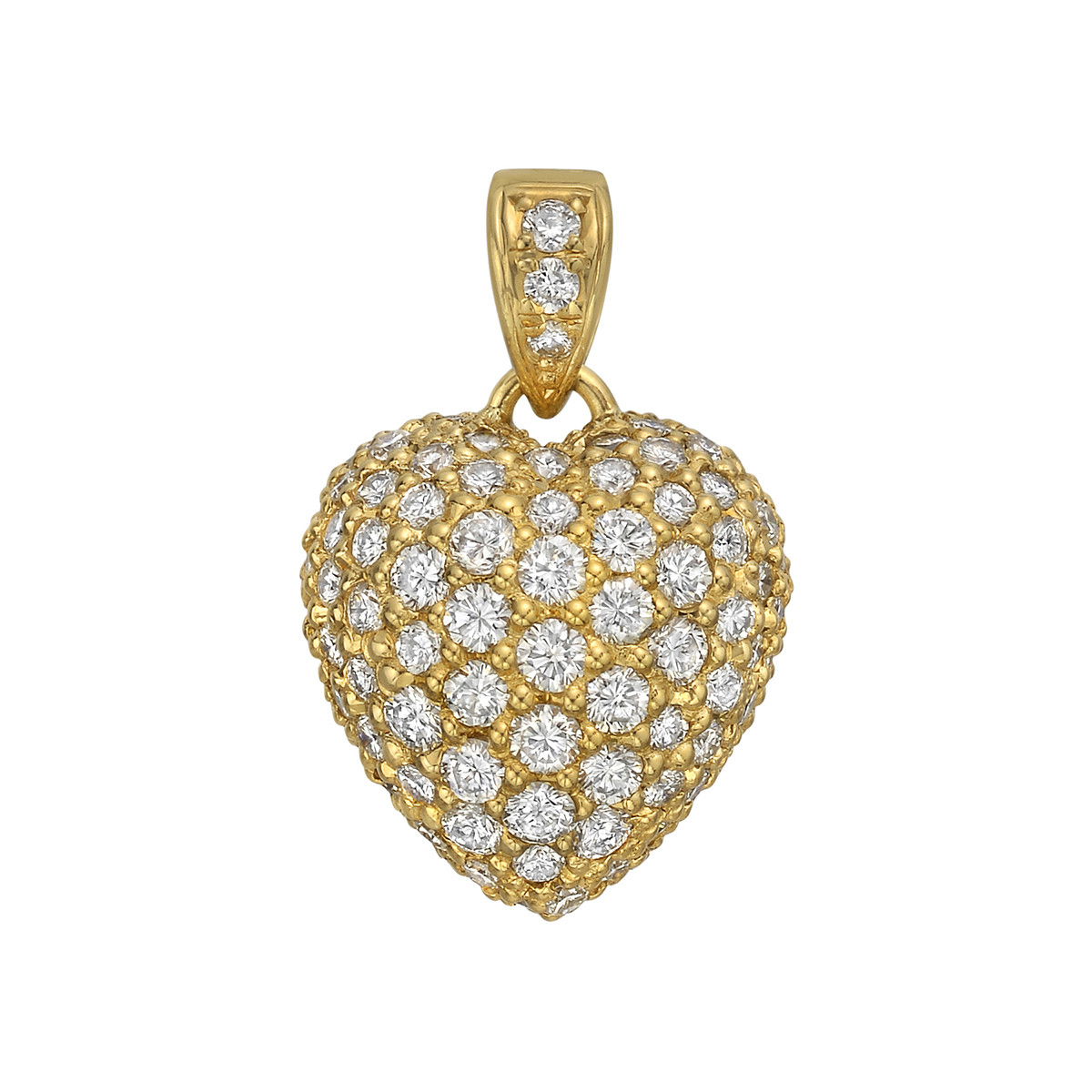 Large 18k Yellow Gold & Diamond Heart Pendant