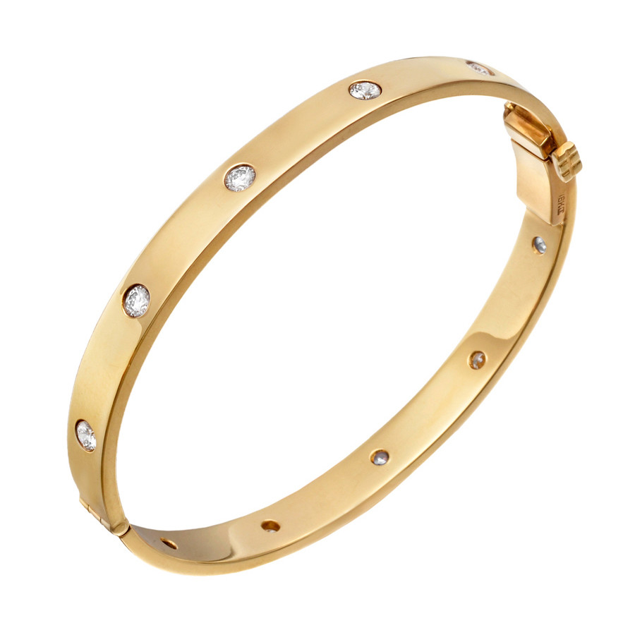 18k Yellow Gold & Ten Diamond Hinged Bangle