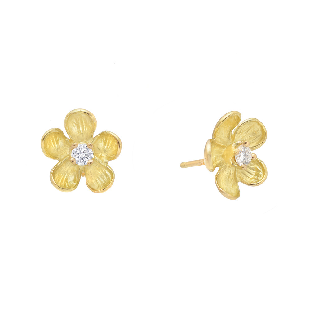 Small 18k Yellow Gold & Diamond Flower Earstuds