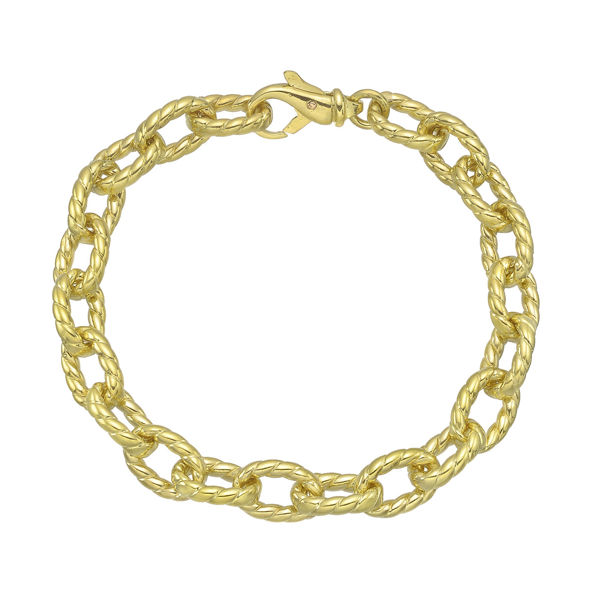 18k Yellow Gold Oval Twist Link Bracelet