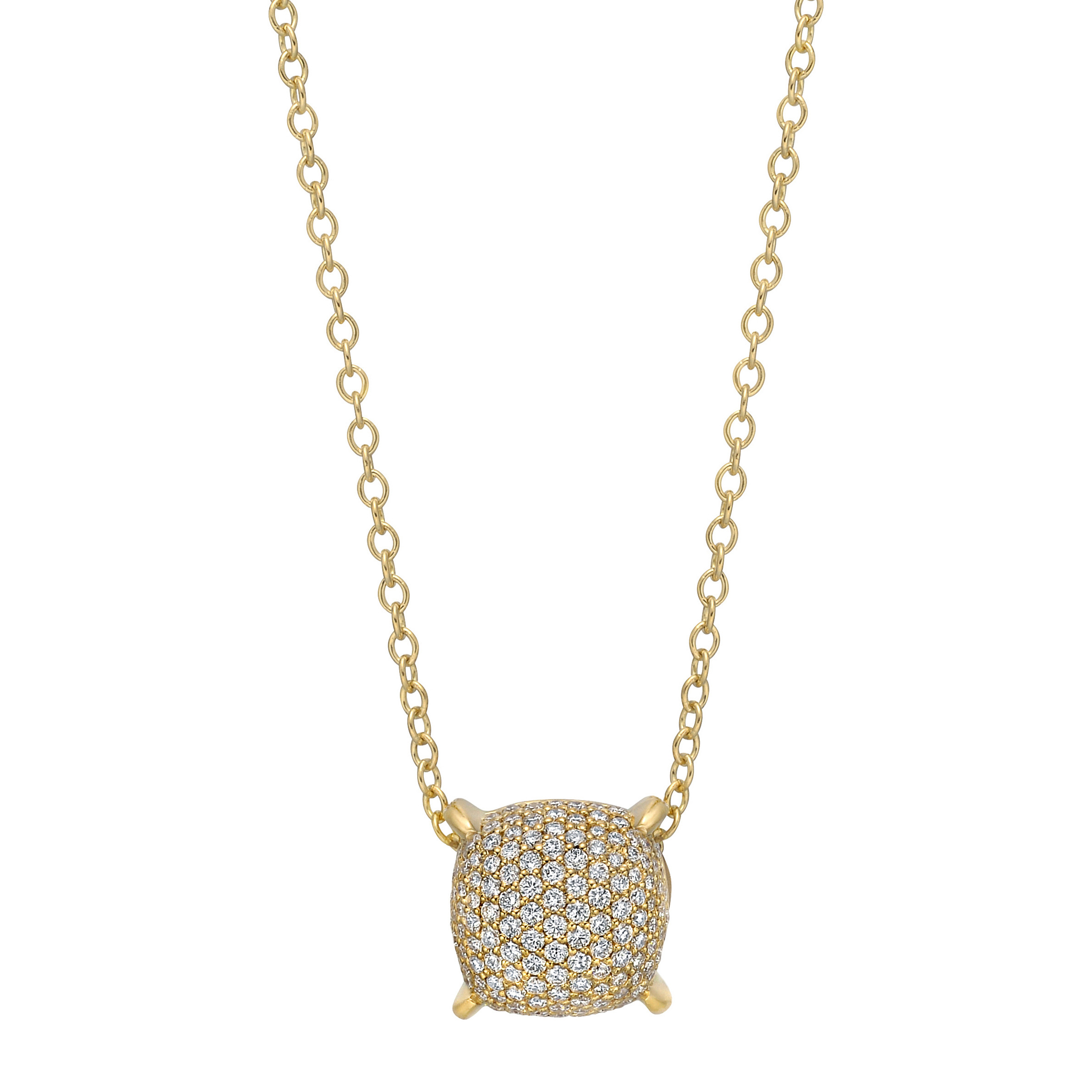 18k Yellow Gold & Pavé Diamond Cushion Pendant
