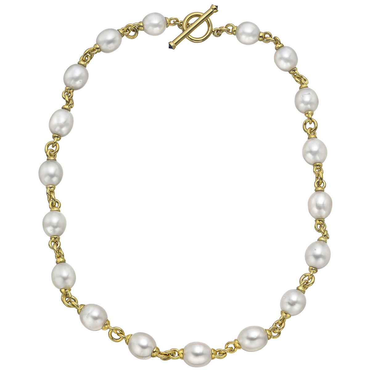 18k Yellow Gold & Pearl Link Chain Necklace