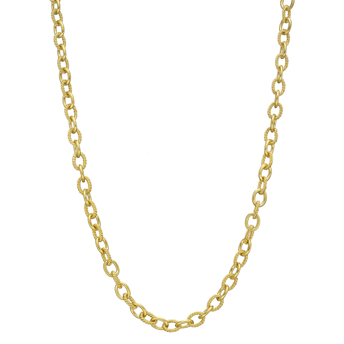 18k Yellow Gold Oval Link Chain Necklace