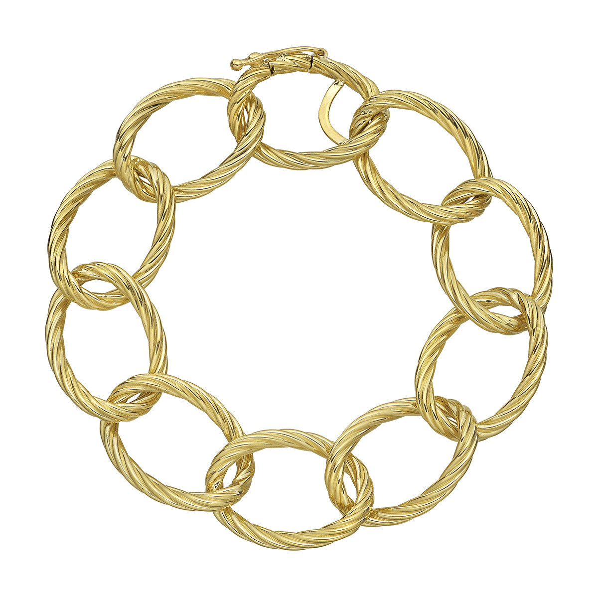 18k Yellow Gold Oval Twisted Link Bracelet