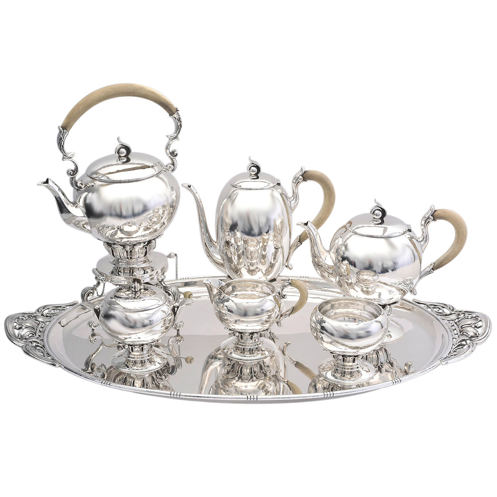 1930s 7-Piece Silver Tea & Coffee Service with Tray