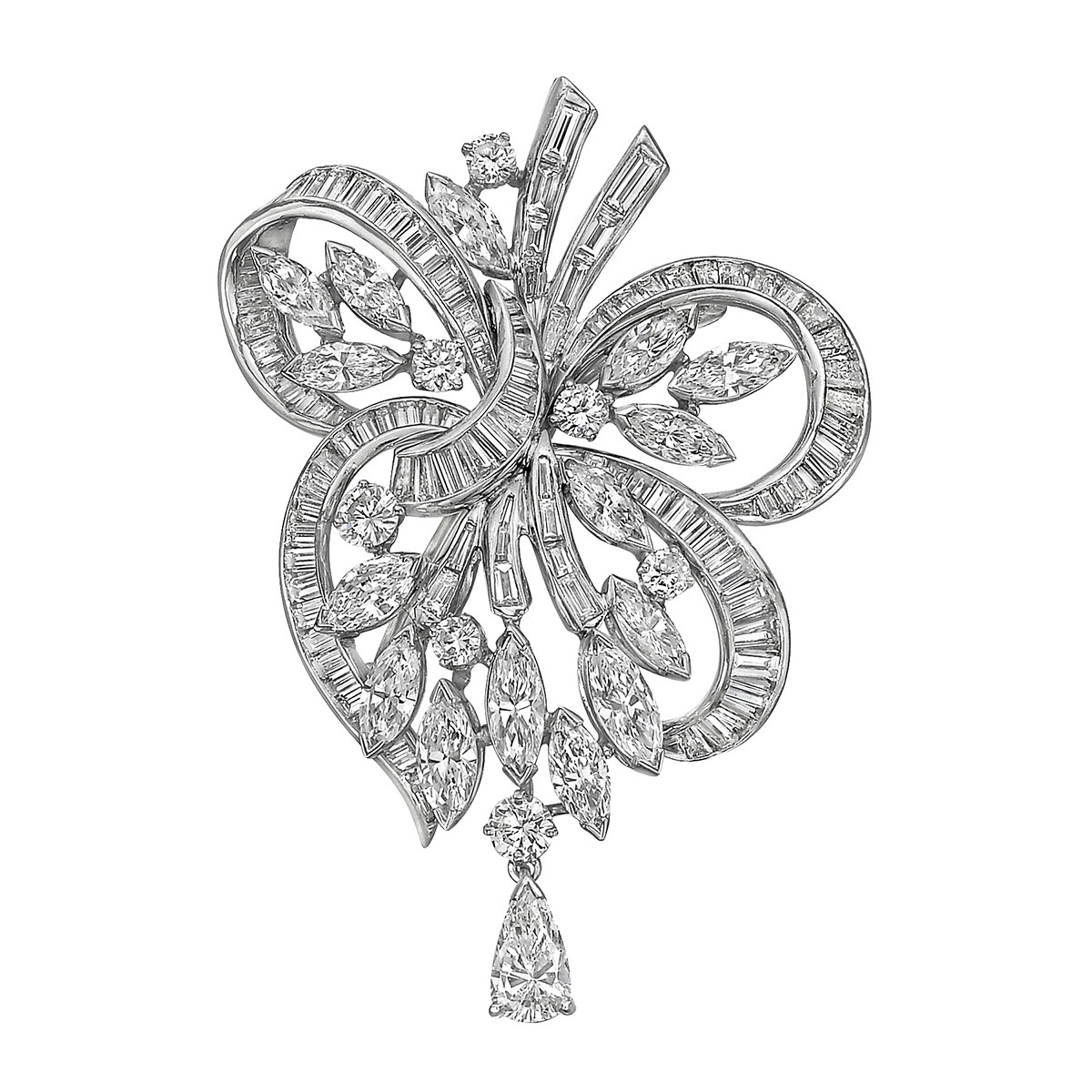 1950s Mixed-Cut Diamond Brooch