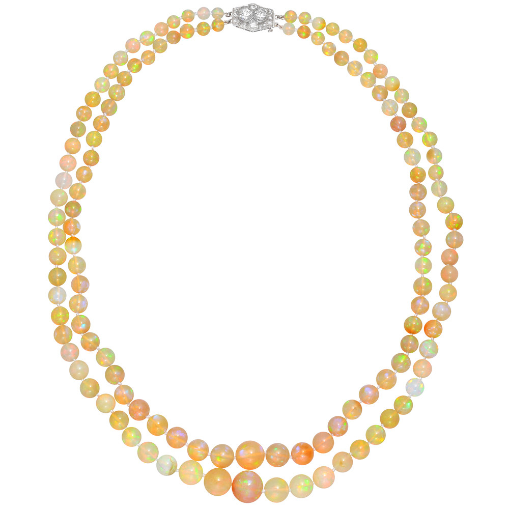 2-Strand Opal Bead Necklace with Diamond-Set Clasp