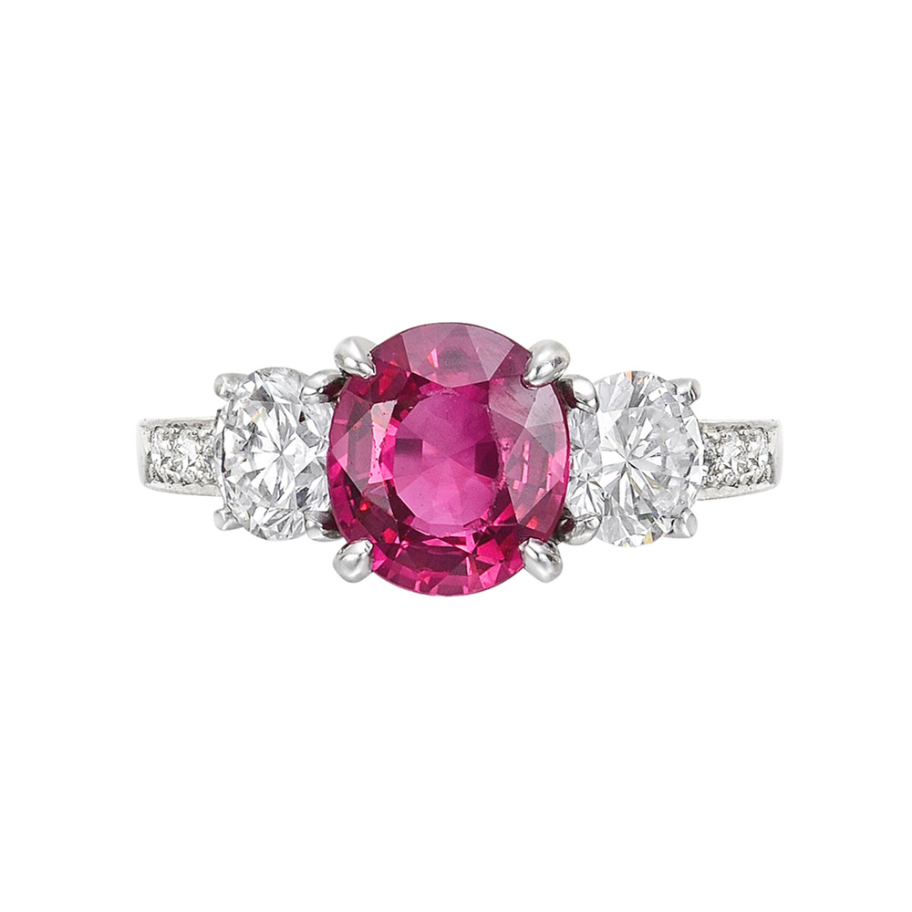2.05 Carat Burmese Ruby & Diamond Ring