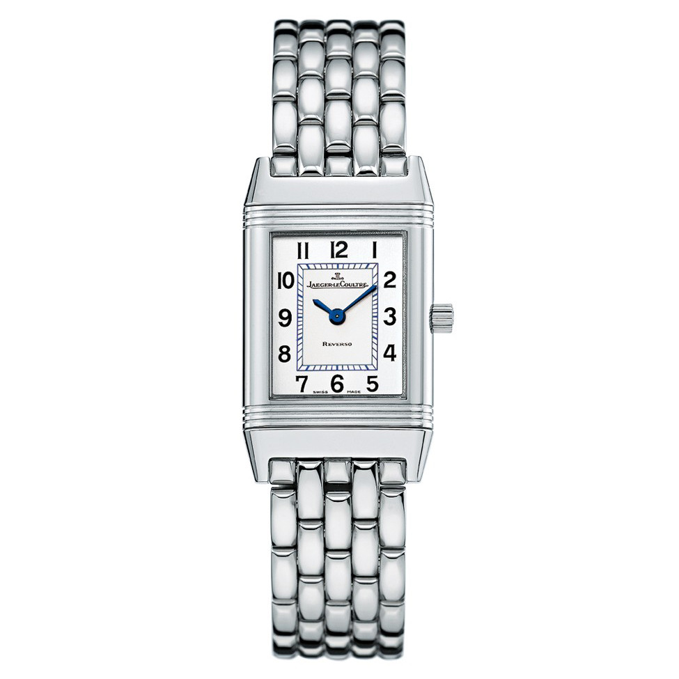 8755b6eeb292c The Jaeger-LeCoultre Reverso Lady (ref. 2618110) features a Swiss-made  quartz movement  silvered dial  solid