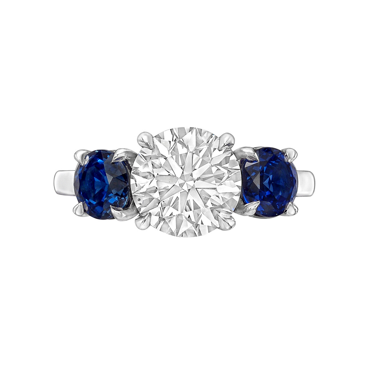 2.01ct Round Diamond & Sapphire Three-Stone Ring