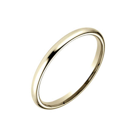 18k Yellow Gold Comfort Fit Wedding Band (2mm)