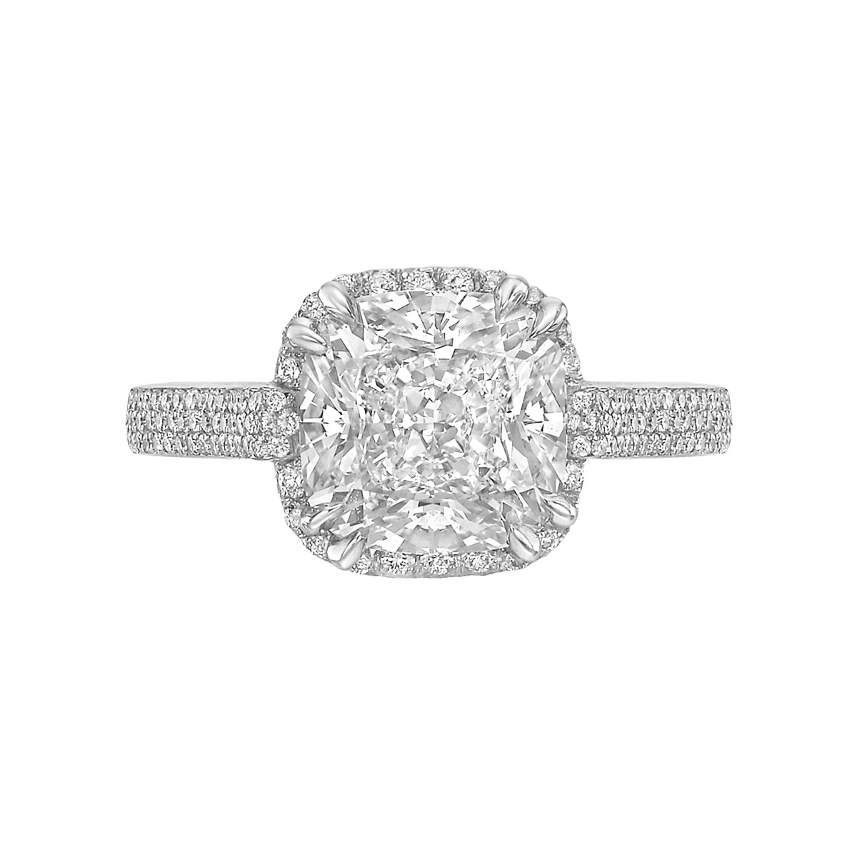 3.11ct Cushion-Cut Diamond Halo Ring