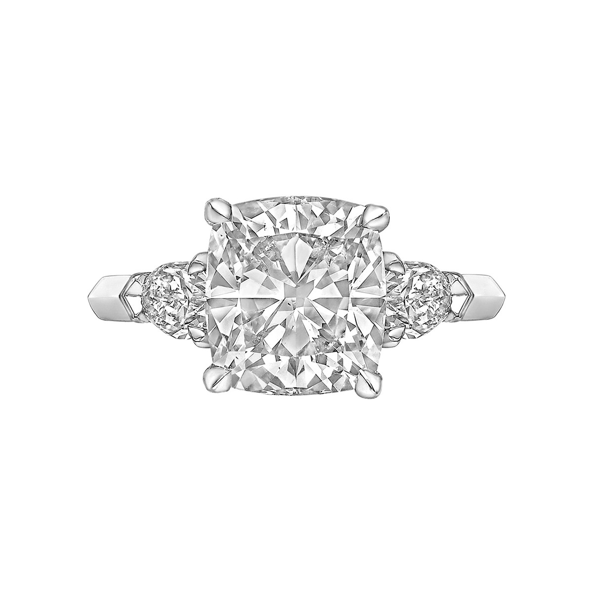 3.01ct Colorless Cushion-Cut Diamond Ring