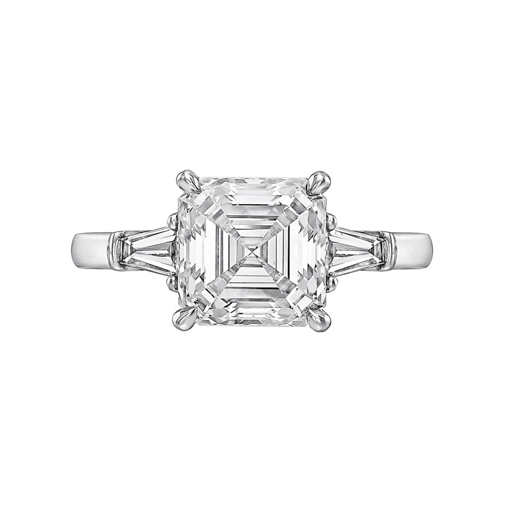 gold solitaire marsac image ring engagement rings cut asscher platium de