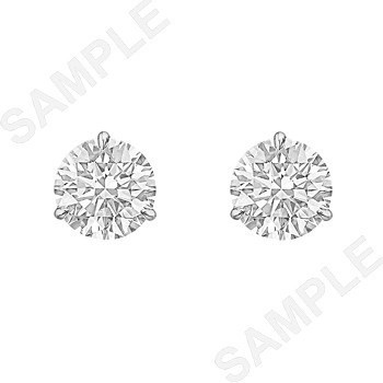 3.04tcw Round Brilliant Diamond Stud Earrings (H/SI1)
