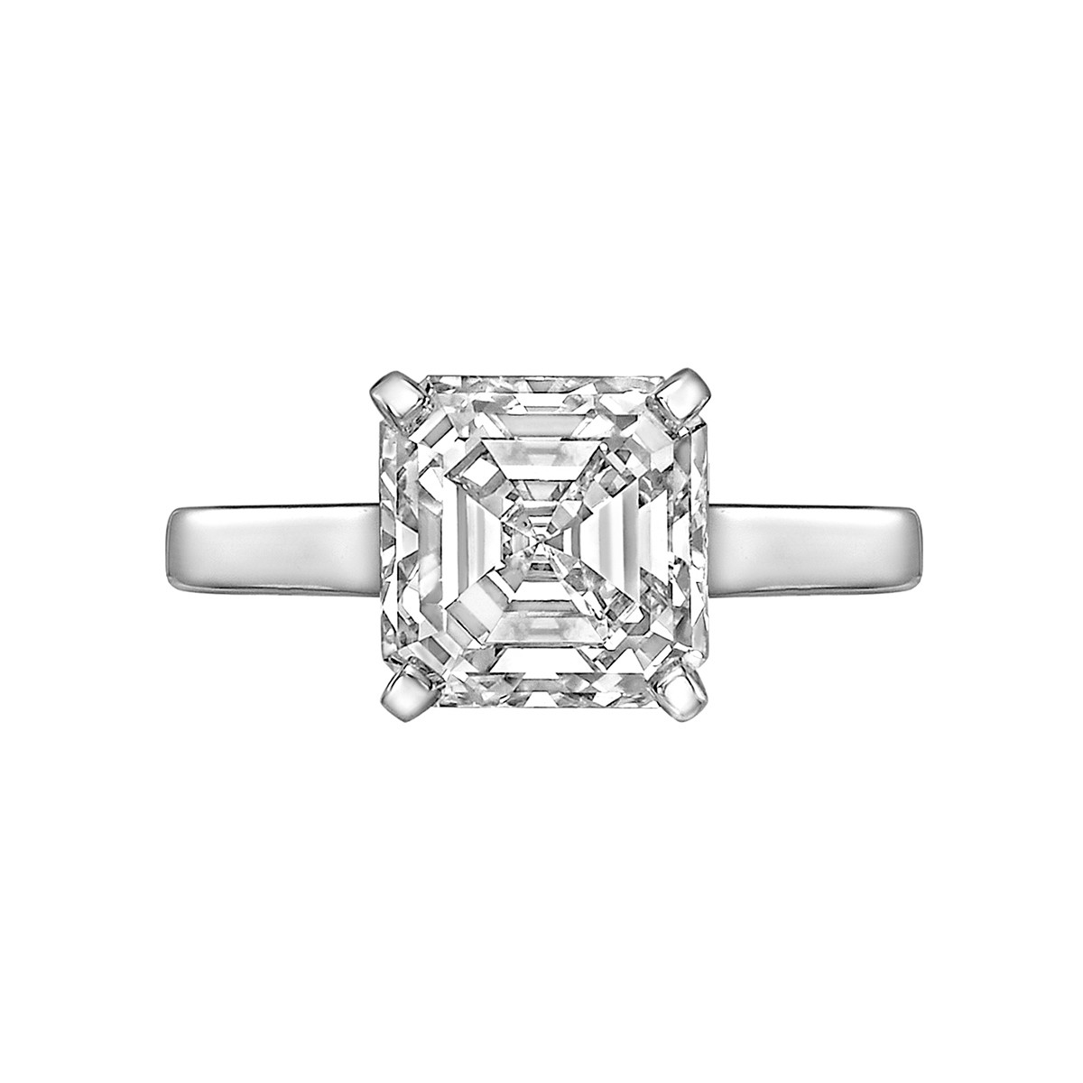 3.01ct Square Emerald-Cut Diamond Solitaire Ring