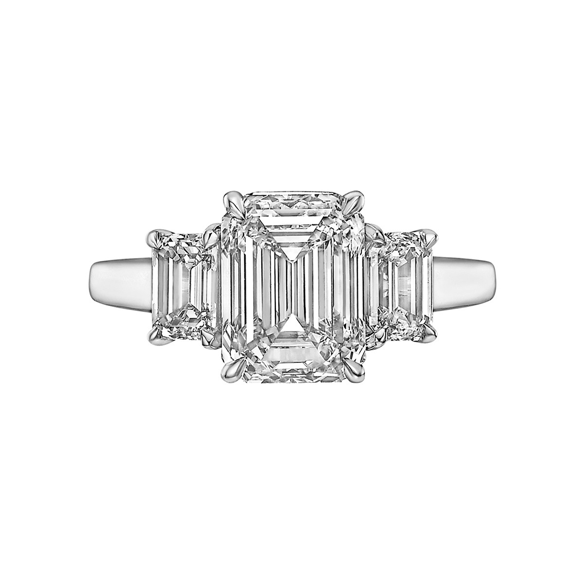 3.05ct Emerald-Cut Diamond Three-Stone Ring (F/VS1)