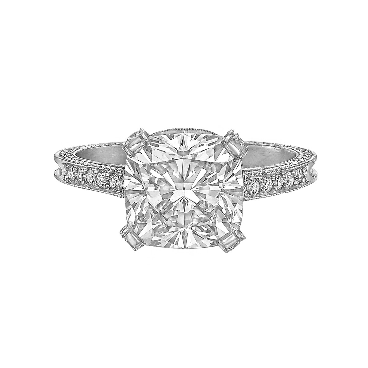 3.06ct Colorless Cushion-Cut Diamond Ring