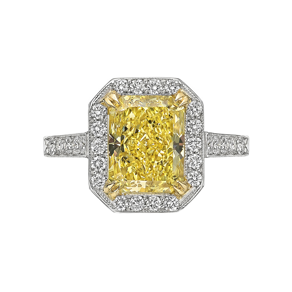 3.21ct Fancy Intense Yellow Diamond Ring