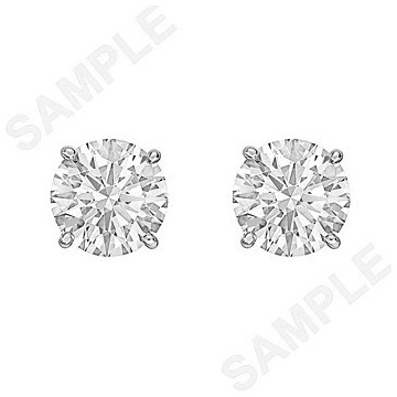 3.40tcw Round Brilliant Diamond Stud Earrings (F/VS2)