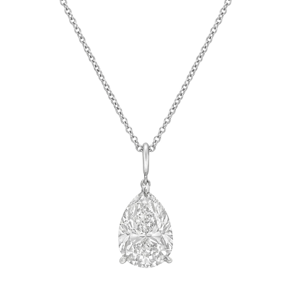 3.50 Carat Pear-Shaped Diamond Solitaire Pendant