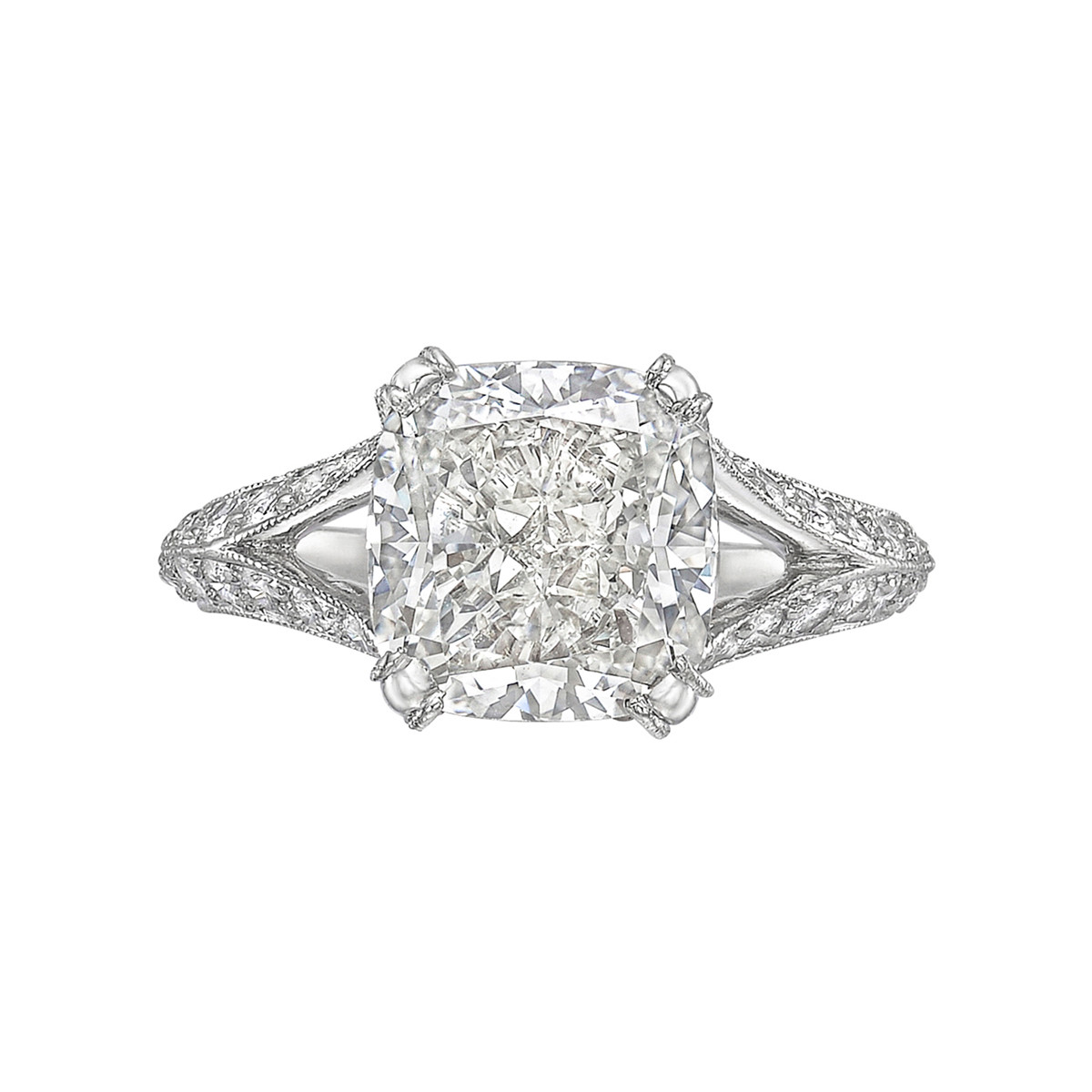 3.02ct Colorless Cushion-Cut Diamond Ring