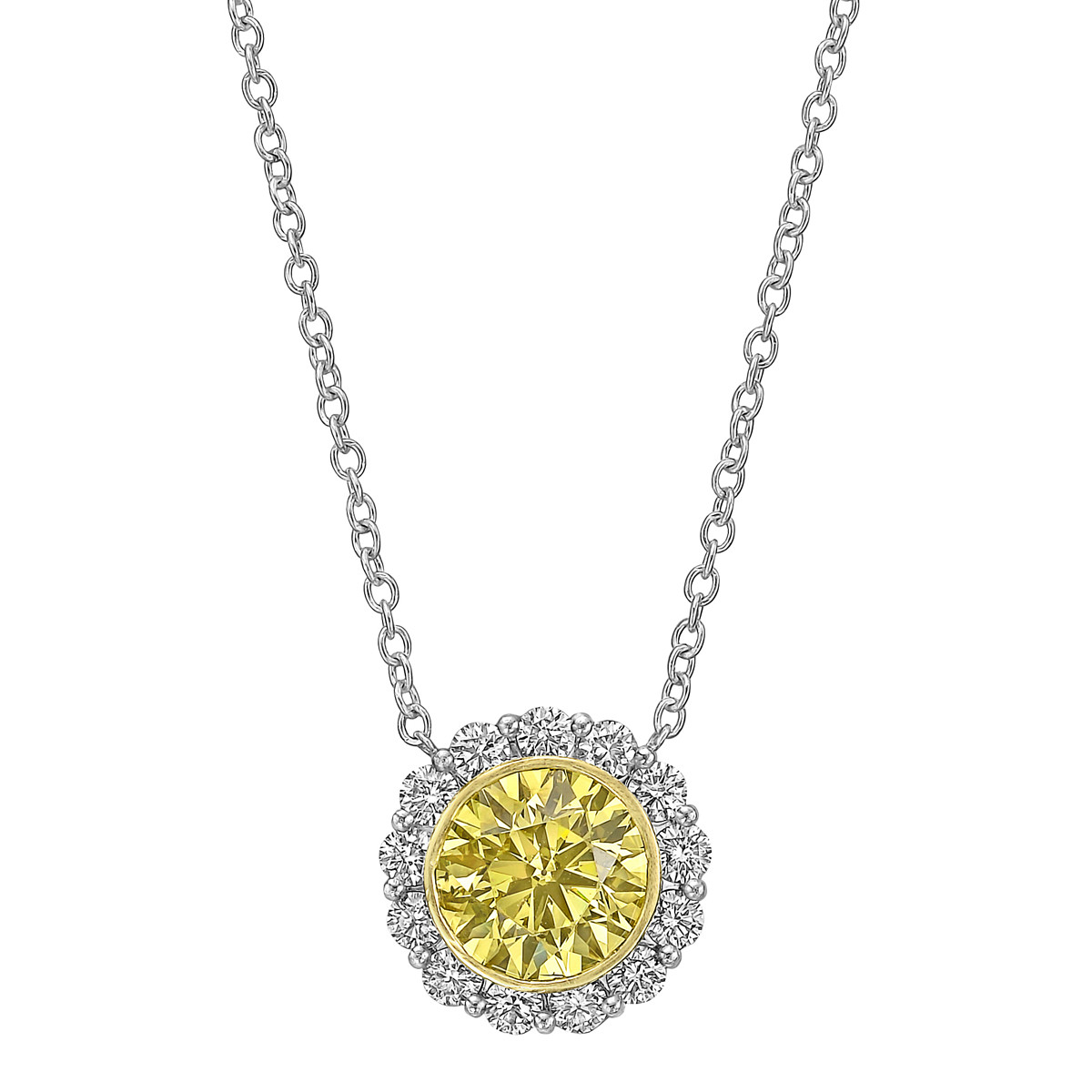 3.52ct Yellow & White Diamond Cluster Pendant