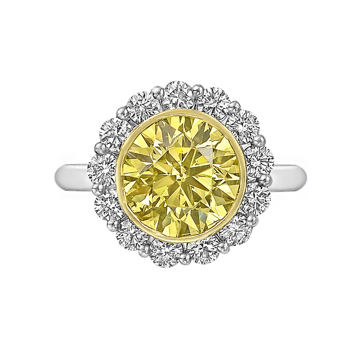 3.52ct Fancy Intense Yellow & White Diamond Ring