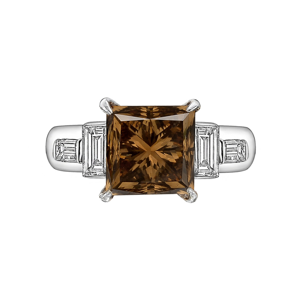 3.90ct Fancy Brown & White Diamond Ring