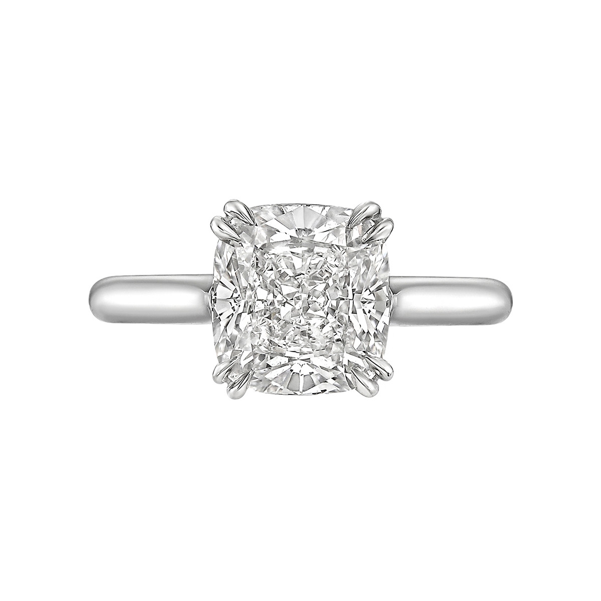 3.01ct Cushion-Cut Diamond Solitaire Ring