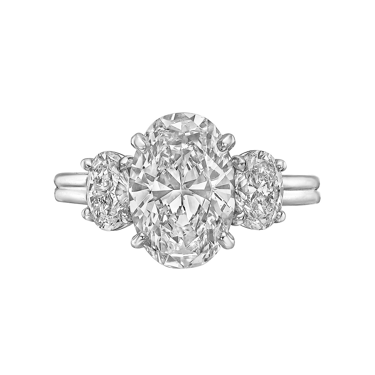 3.03ct Oval-Cut Diamond Three-Stone Ring