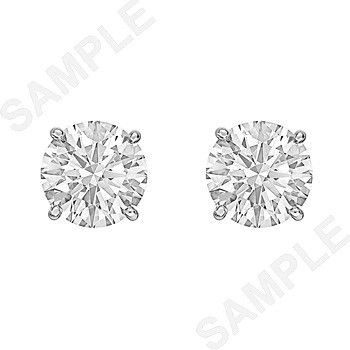4.02tcw Round Brilliant Diamond Stud Earrings (H/SI1)