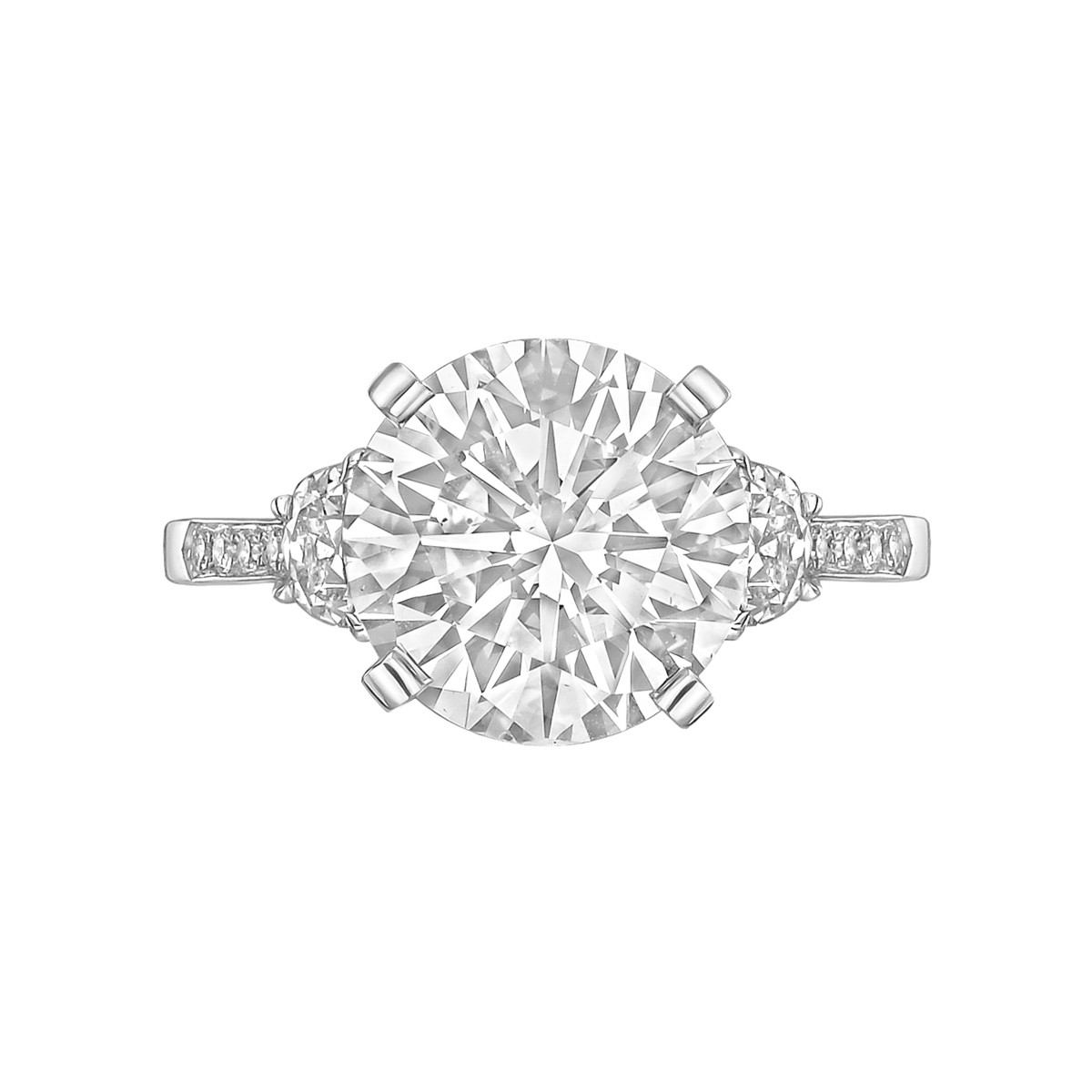 4.03ct Fine Colorless Round Brilliant Diamond Ring