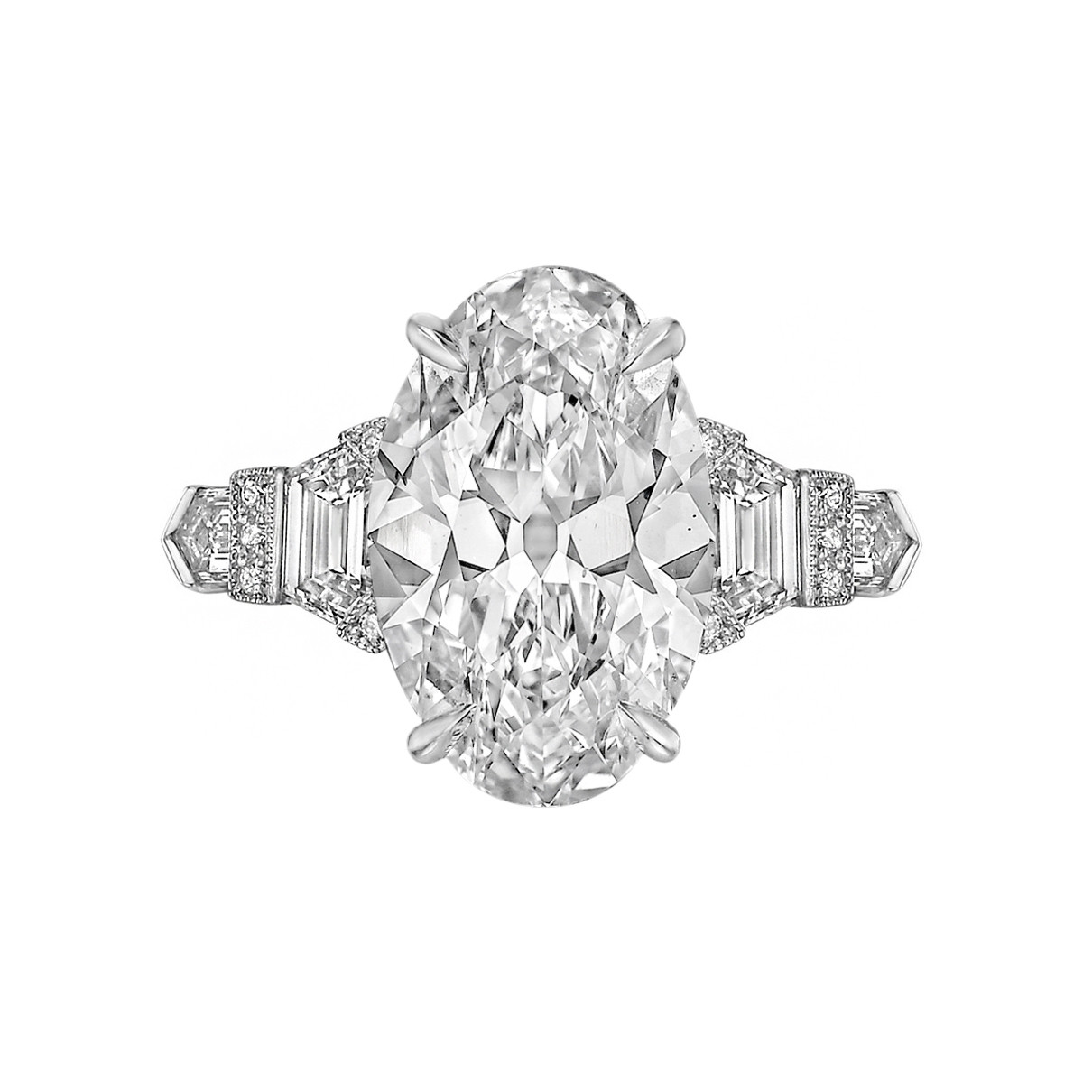 4.69ct Near-Colorless Oval-Cut Diamond Ring
