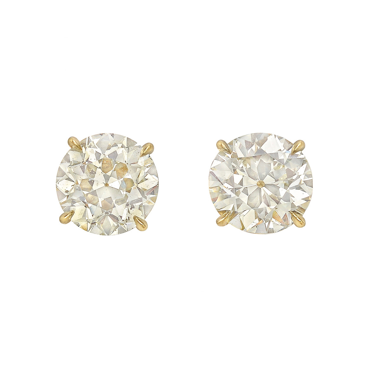 Circular Brilliant Diamond Stud Earrings (4.14ct tw)