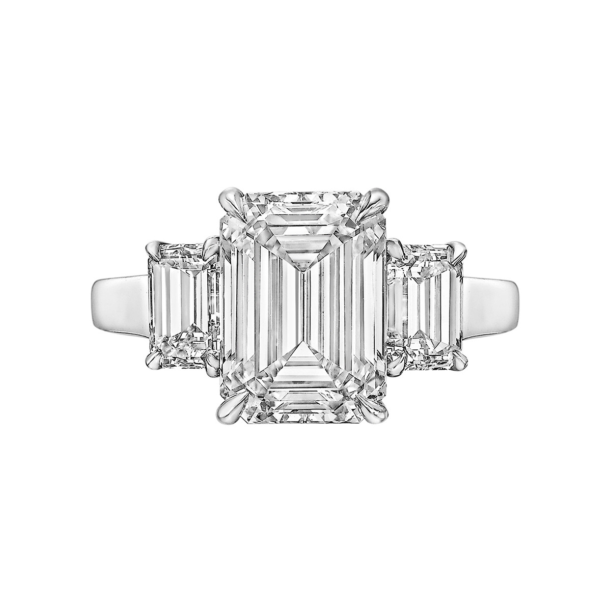 4.01ct Emerald-Cut Diamond Three-Stone Ring