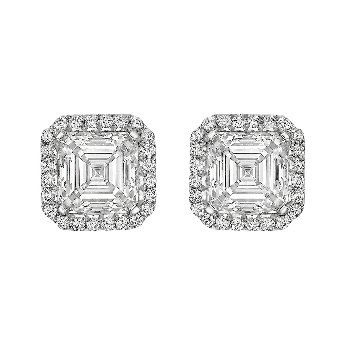 "Square Emerald-Cut Diamond ""Oriana"" Stud Earrings (4.03ct tw)"