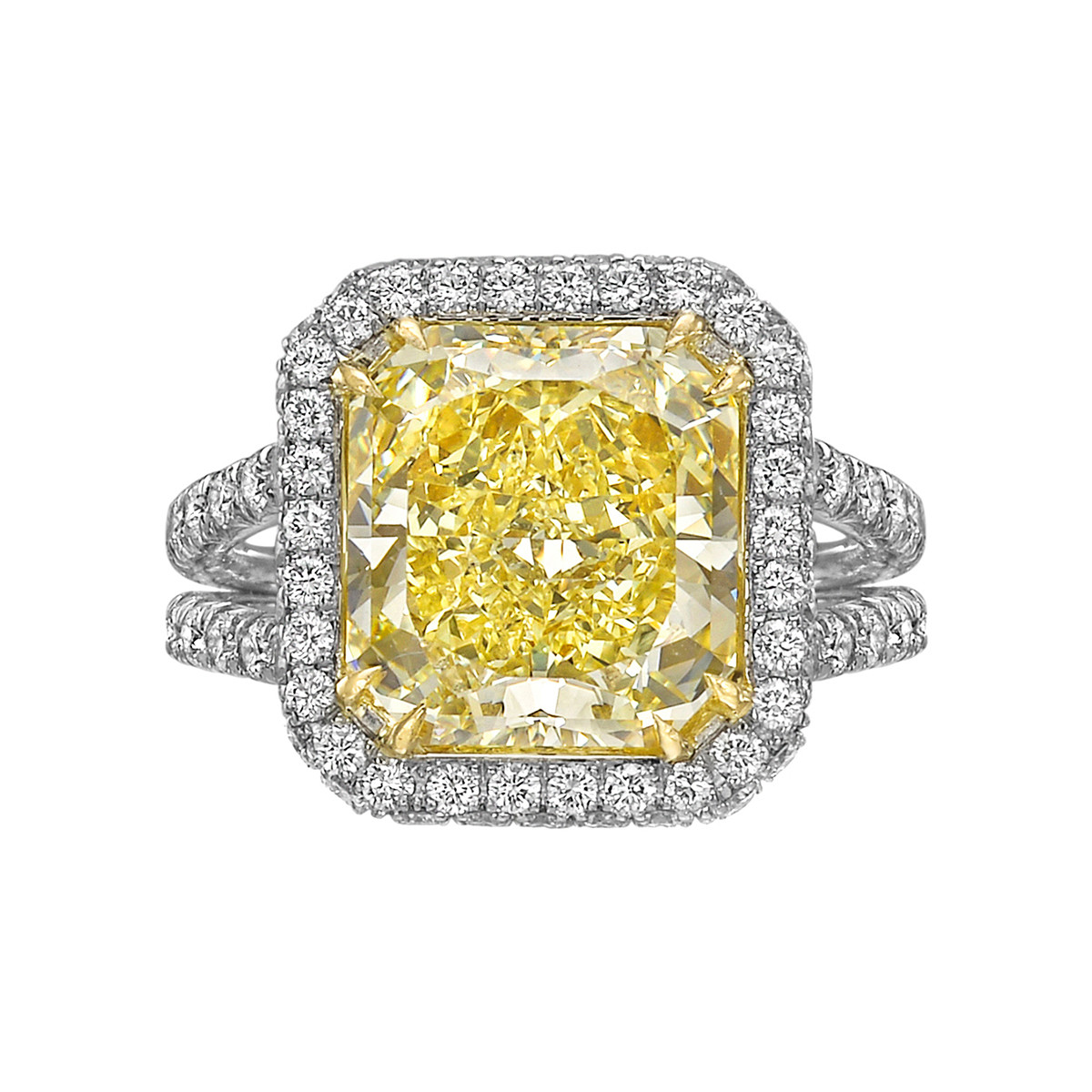 5.62ct Fancy Intense Yellow Diamond Halo Ring