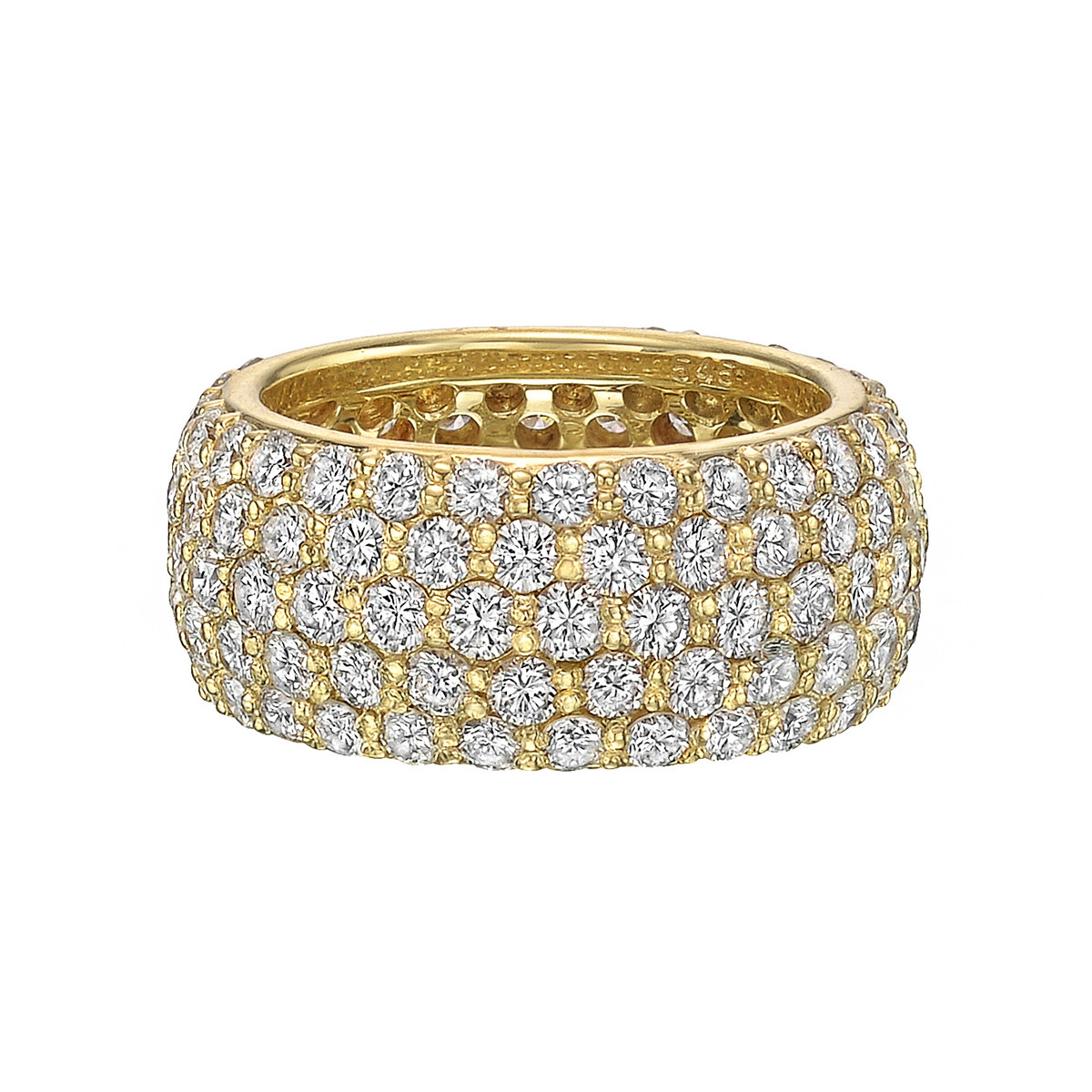 5-Row 18k Yellow Gold & Diamond Eternity Band