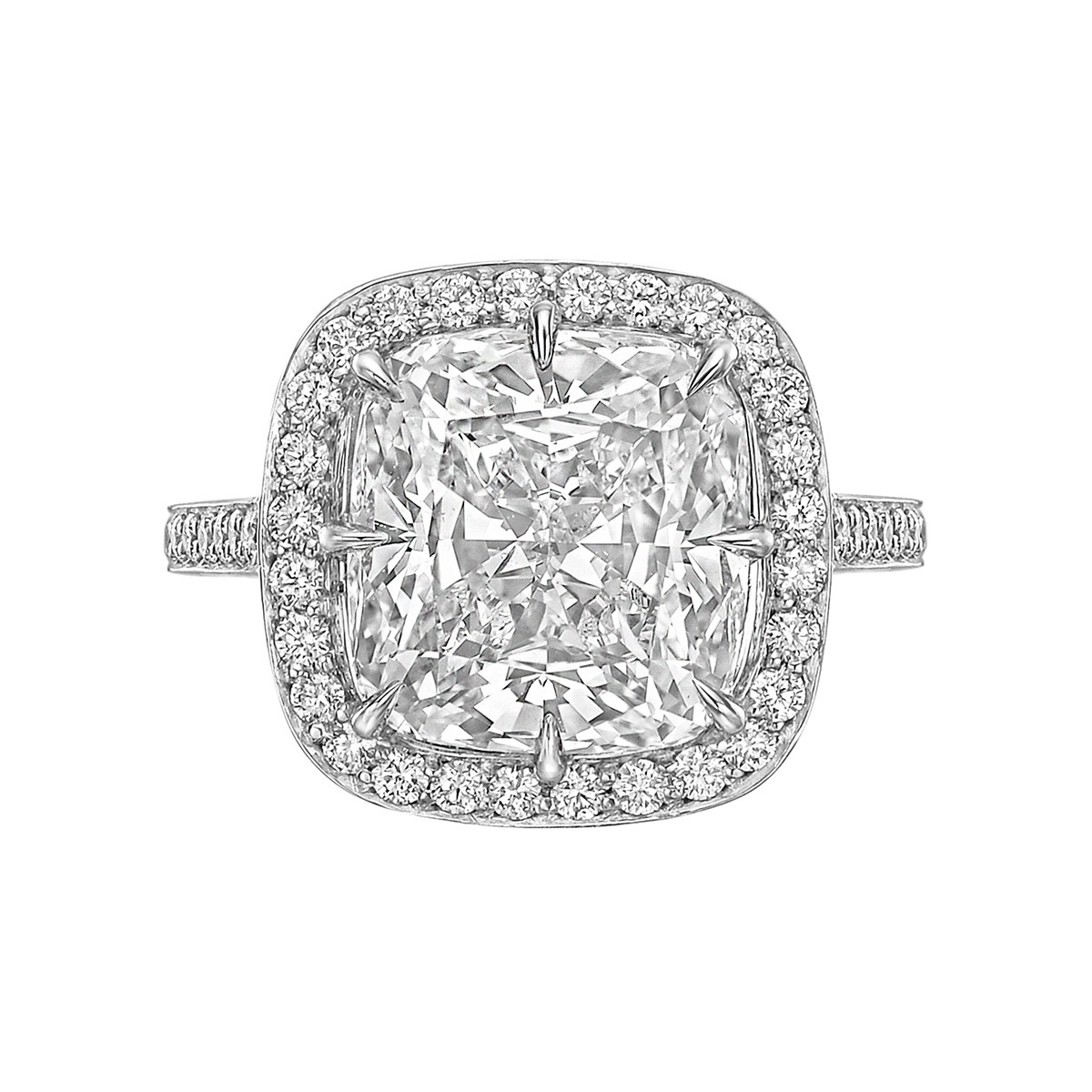 5.07ct Cushion-Cut Diamond Halo Ring