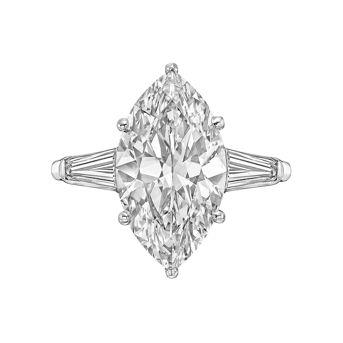 5.09ct Fine Colorless Marquise-Cut Diamond Ring