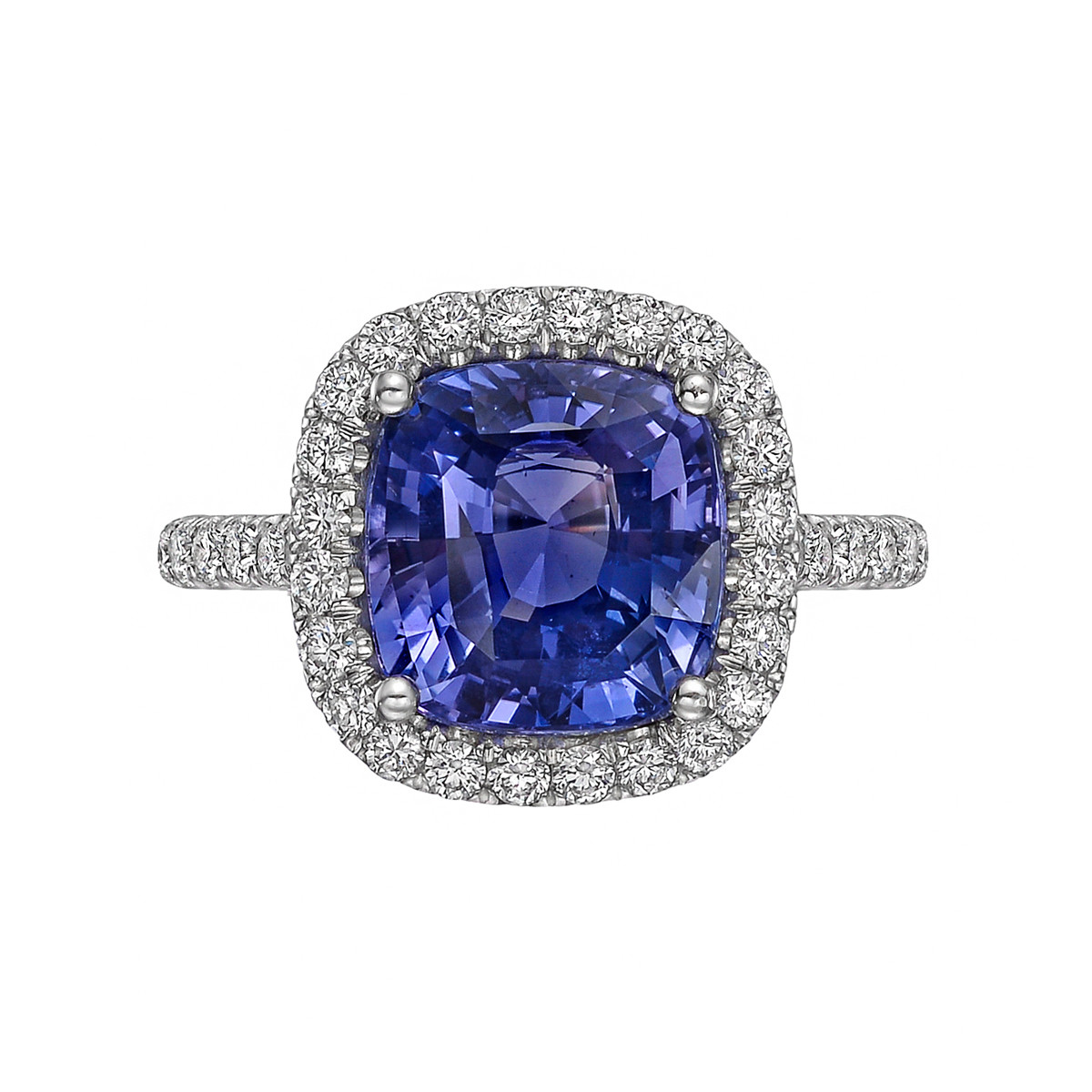 5.05ct Violet-Blue Sapphire & Diamond Halo Ring