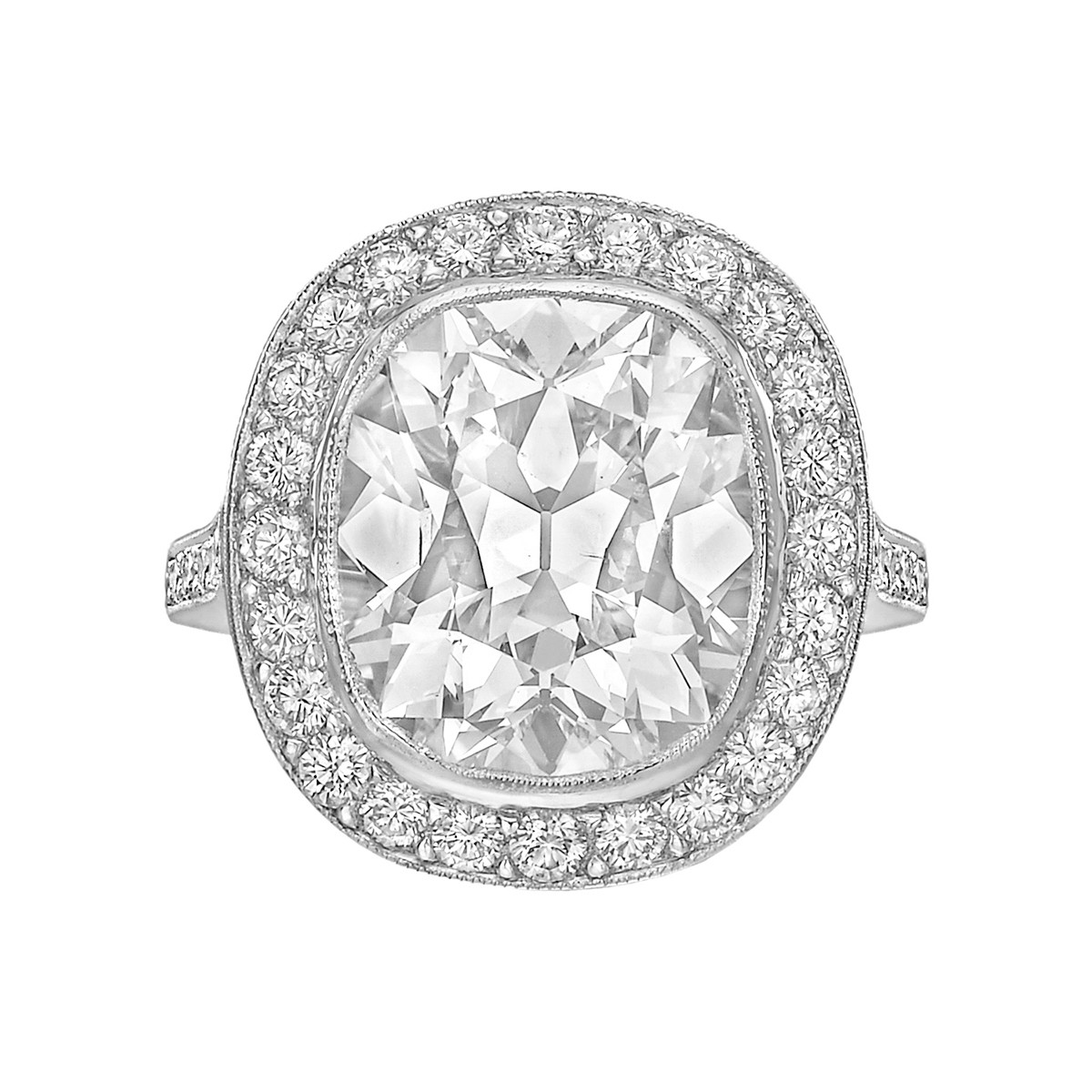 6.61ct Fine Colorless Cushion-Cut Diamond Ring